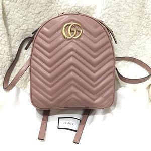 NEW Calfskin Matelasse GG Marmont Backpack Pink